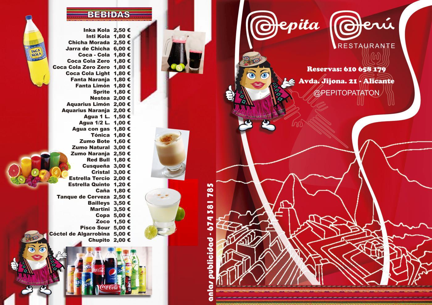 Pepita Perú Alicante - Carta de bebidas